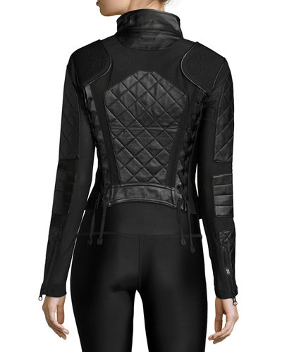 Quilted Leather & Mesh Moto Jacket