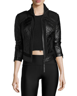5ba14dc72b Blanc Noir Quilted Leather   Mesh Moto Jacket