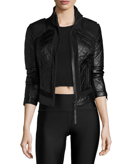 Blanc Noir Quilted Leather Mesh Moto Jacket Neiman Marcus