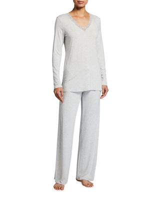 Feathers Long-Sleeve Pajama Set