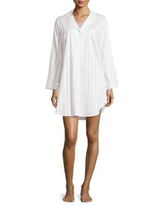 Tina Shadow-Stripe Long-Sleeve Sleep Shirt