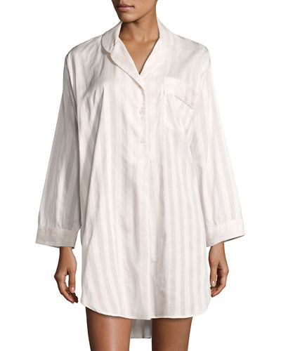 P Jamas Tina Shadow-Stripe Long-Sleeve Sleep Shirt