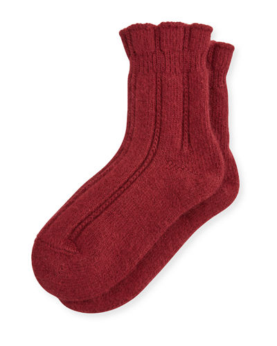 Cashmere-Blend Cozy Ruffled Bedsocks
