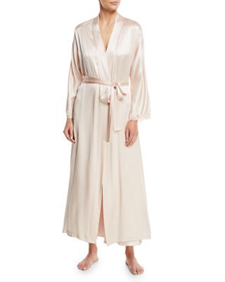 CHRISTINE DESIGNS Bijoux Long Silk Robe in Light Pink