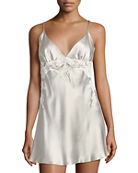 Christine Designs Bijoux Lace-Detail Silk Satin Chemise