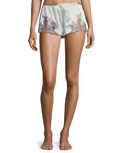 Josie Natori Lillian Lace-Trim Lounge Tap Pants
