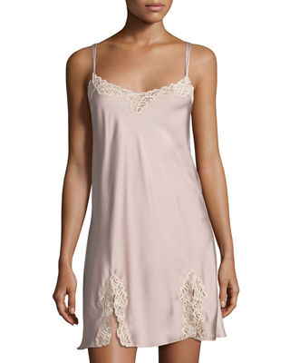 Chantilly Lace-Trimmed Chemise, Light Pink