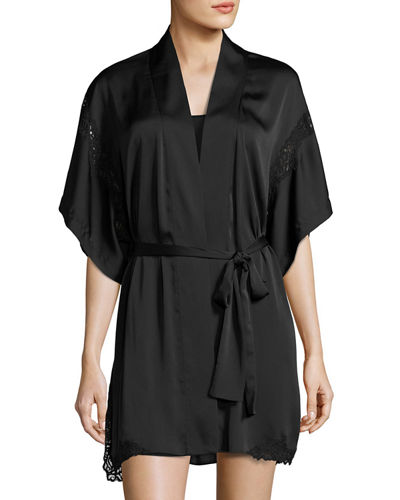 Feathers Lace-Inset Satin Robe