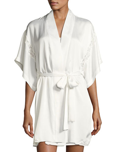 Natori Feathers Lace-Inset Satin Robe
