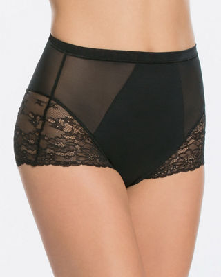 Lace-Inset High-Waist Briefs