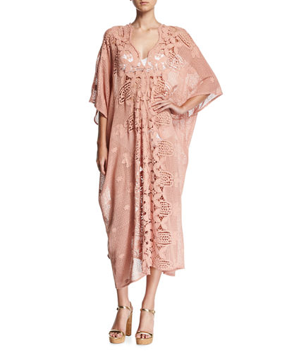Rachel Scallop Lace Long Coverup Caftan