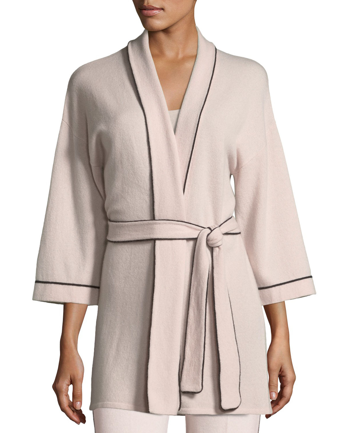 Cashmere Tipped TieFront Bed JacketRobe