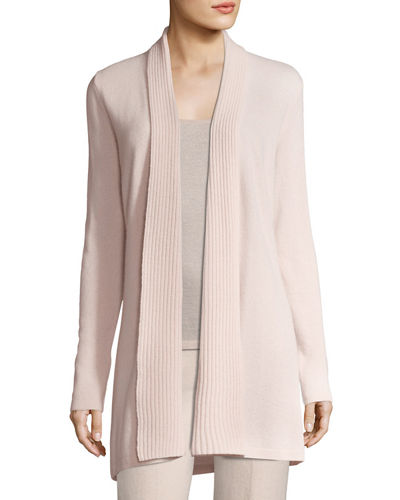 Neiman Marcus Cashmere Collection Cashmere Ribbed-Trim Open-Front