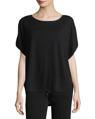 Image 1 of 2: Cashmere Short-Sleeve Lounge Top