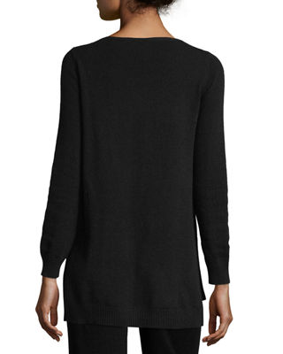 Cashmere Ribbed-Trim Sweater