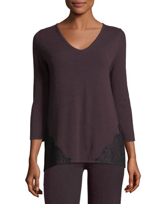 Image 1 of 2: Cashmere Lace-Trim Lounge Top