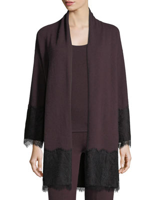 Neiman Marcus Cashmere Collection Cashmere Lace-Trim Open-Front