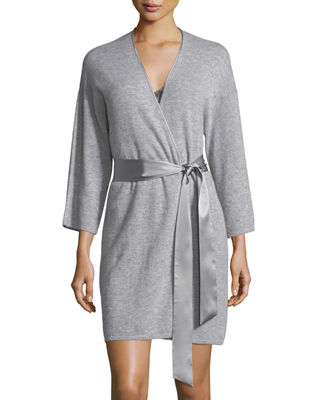 Silk-Tie Cashmere Short Robe