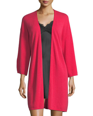 Image 3 of 3: Silk-Tie Cashmere Short Robe