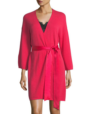 Neiman Marcus Cashmere Collection Silk-Tie Cashmere Short Robe