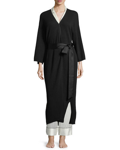 Neiman Marcus Cashmere Collection Cashmere Silk-Trim Robe