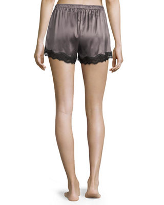 Image 2 of 3: Lace-Trimmed Silk Shorts