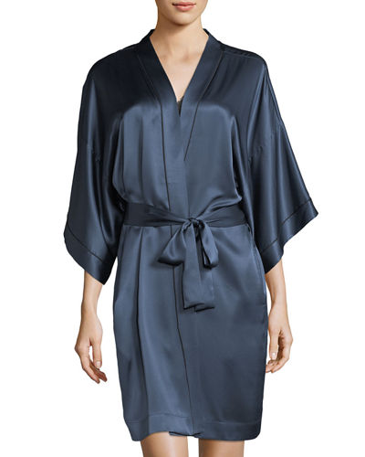 Contrast-Trim Silk Short Robe