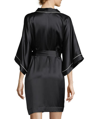 Image 2 of 3: Contrast-Trim Silk Short Robe