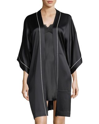 Image 3 of 3: Contrast-Trim Silk Short Robe