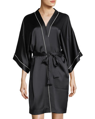 Image 1 of 3: Contrast-Trim Silk Short Robe