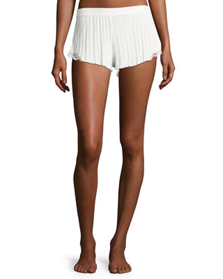 Ribbed Lace-Inset Lounge Shorts