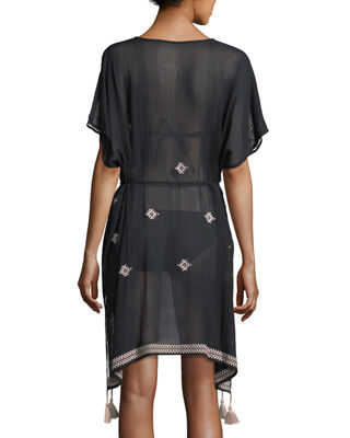Image 2 of 4: Cross-stitch Coverup Caftan Dress, One Size