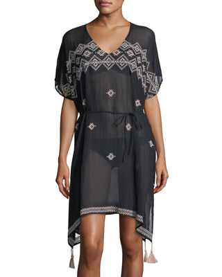 Image 1 of 4: Cross-stitch Coverup Caftan Dress, One Size