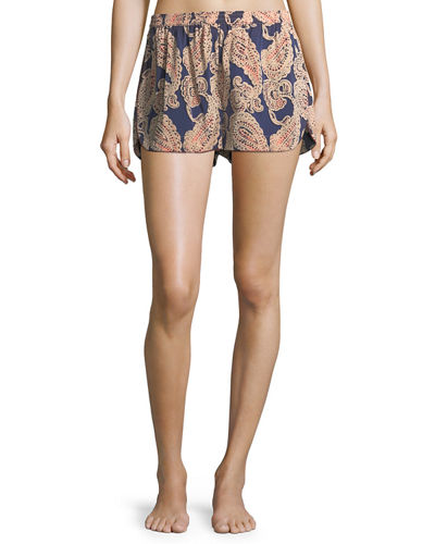Poppy Snoozing Paisley-Print Lounge Shorts