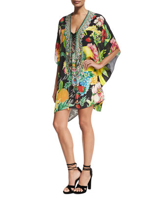 Image 1 of 4: Short Lace-Up Embellished Silk Kaftan Swim Coverup, One Size
