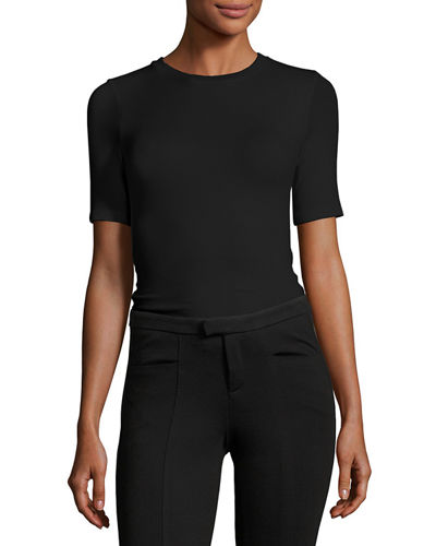 ATM Anthony Thomas Melillo Rib-Knit Short-Sleeve Bodysuit