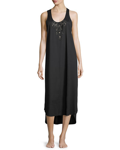 Natori Bliss Lace-Inset Sleeveless Cotton Nightgown