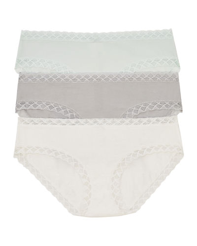 White With Grey Trims Soft Cotton Lace Effect Stretch Low Rise Bikini  Knickers