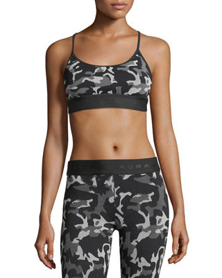 KORAL Sweeper Versatility Camouflage Jacquard Sports Bra in Black Pattern