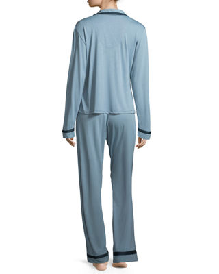 Image 3 of 5: Bella Contrast-Trim Pajama Set