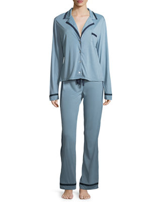 Image 1 of 5: Bella Contrast-Trim Pajama Set