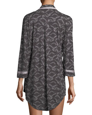 Image 2 of 2: Bella Printed Long-Sleeve Sleepshirt