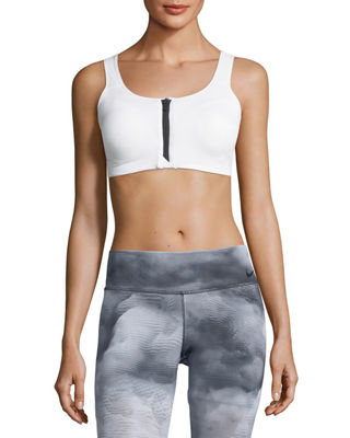 Image 1 of 2: Zip-Front Medium Support Performance Sports Bra