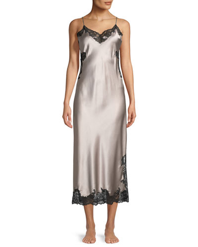 Camilla Lace-Inset Silk Nightgown