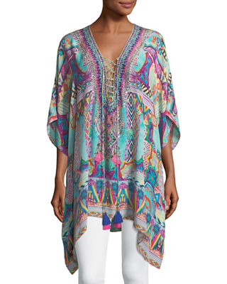 Camilla Convertible Short Lace-Up Kaftan Coverup, One Size