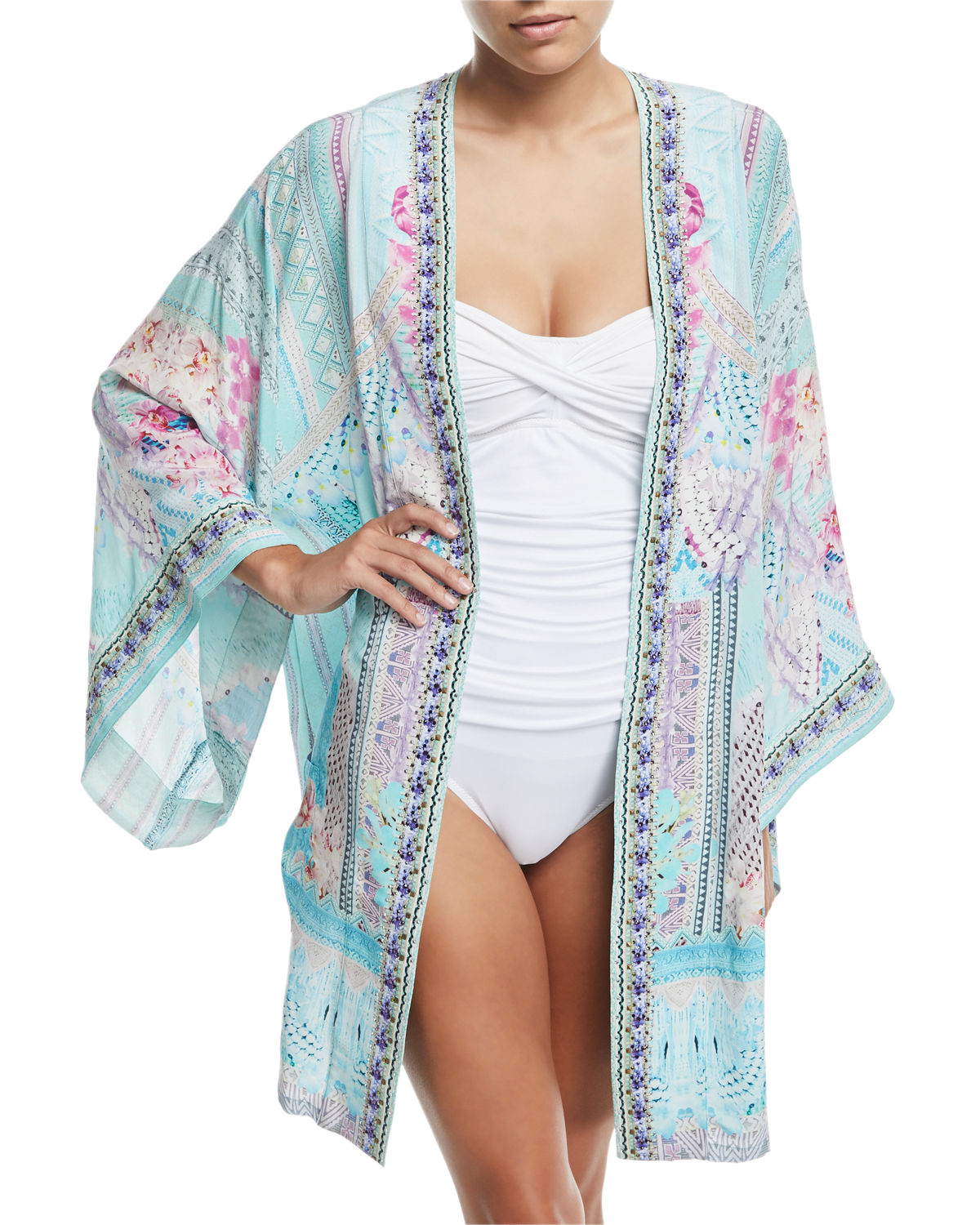 Printed Silk Belted Kimono One Size