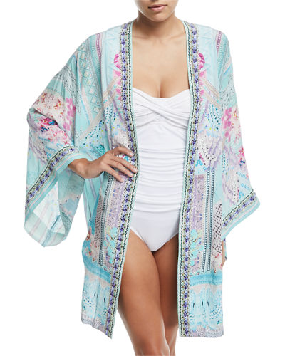 Printed Silk Belted Kimono