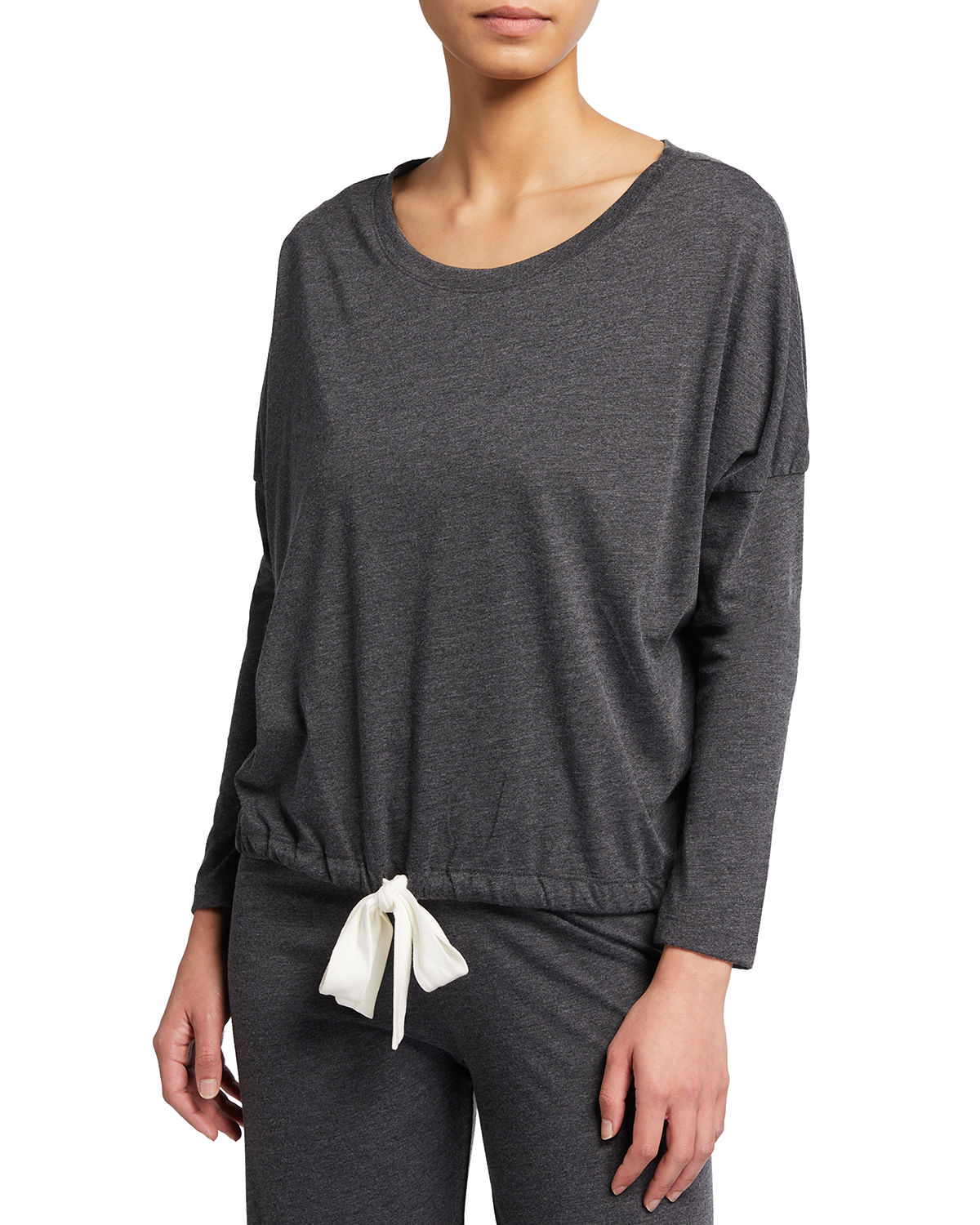 Eberjey Heather Slouchy Drawstring Lounge Tee In Charcoal