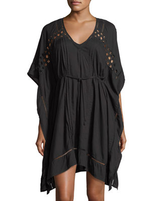 JETS by Jessika Allen V-Neck Crochet Kaftan Coverup