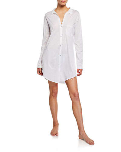 La perla eva long sleeve nightgown w lace inset Long cotton sleep shirts